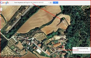 Capella de Santa Magdalena del Puig – Gelida-Itinerari final-Captura de pantalla de Google Maps, complementada amb anotacions manuals.