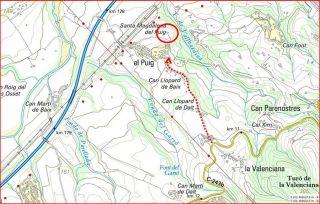Capella de Santa Magdalena del Puig – Gelida-Itinerari inicial-Captura de pantalla d'un mapa del Institut Cartogràfic de Catalunya, complementada amb anotacions manuals.