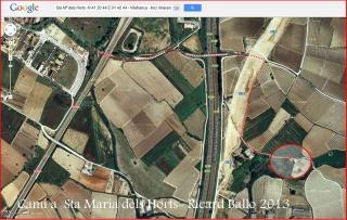 Capella de Santa Maria dels Horts – Vilafranca del Penedès - Captura de pantalla de Google Maps, complementada amb anotacions manuals.
