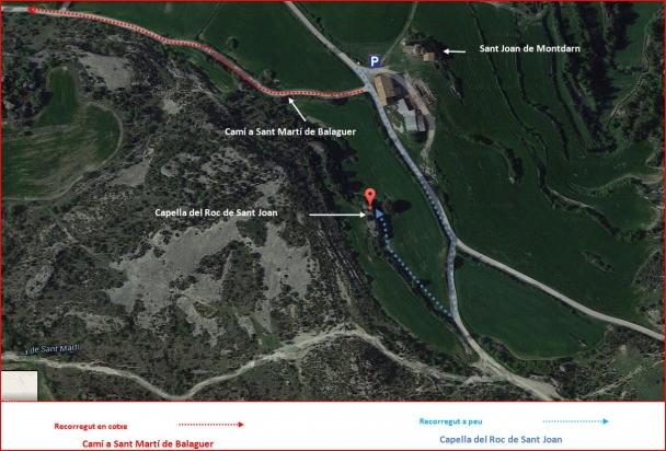 Capella del Roc de Sant Joan-Itinerari-Captura de pantalla de Google Maps, complementada amb anotacions manuals.