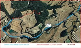 Capella NOVA de Sant Ermengol - Darrera part de l\'itinerari - Captura de pantalla de Google Maps, complementada amb anotacions manuals.