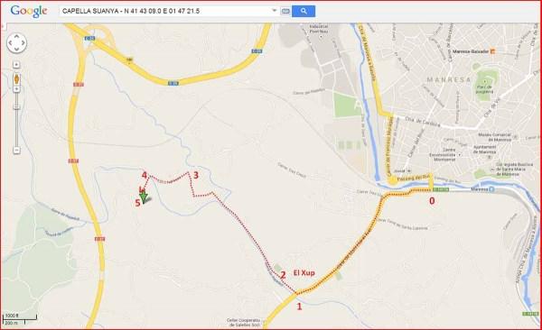Capella Suanya-Itinerari - Captura de pantalla de Google Maps, complementada amb anotacions manuals.
