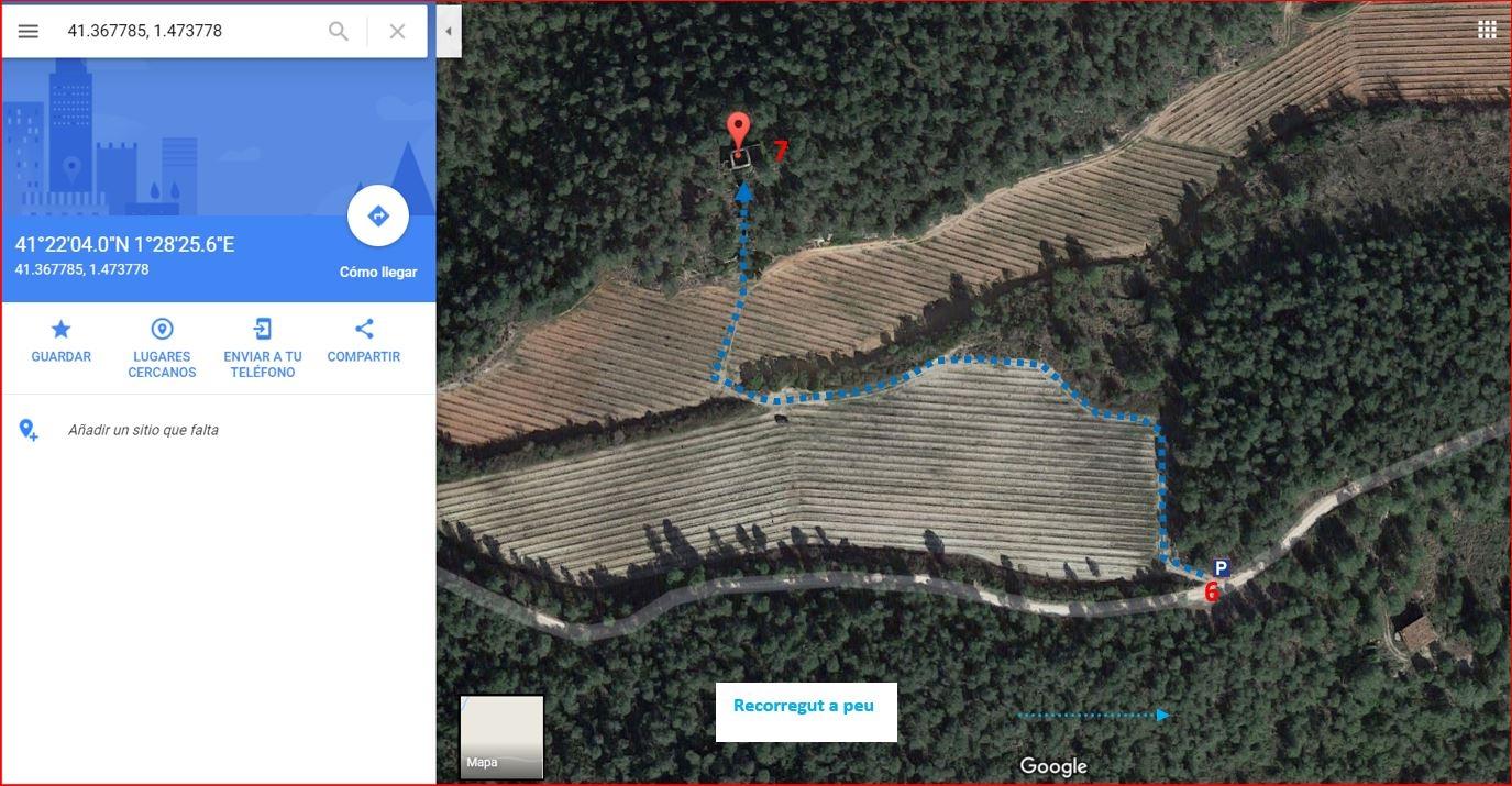 Casa forta de la Campanera-Itinerari - Part final - Captura de pantalla de Google Maps, complementada amb anotacions manuals