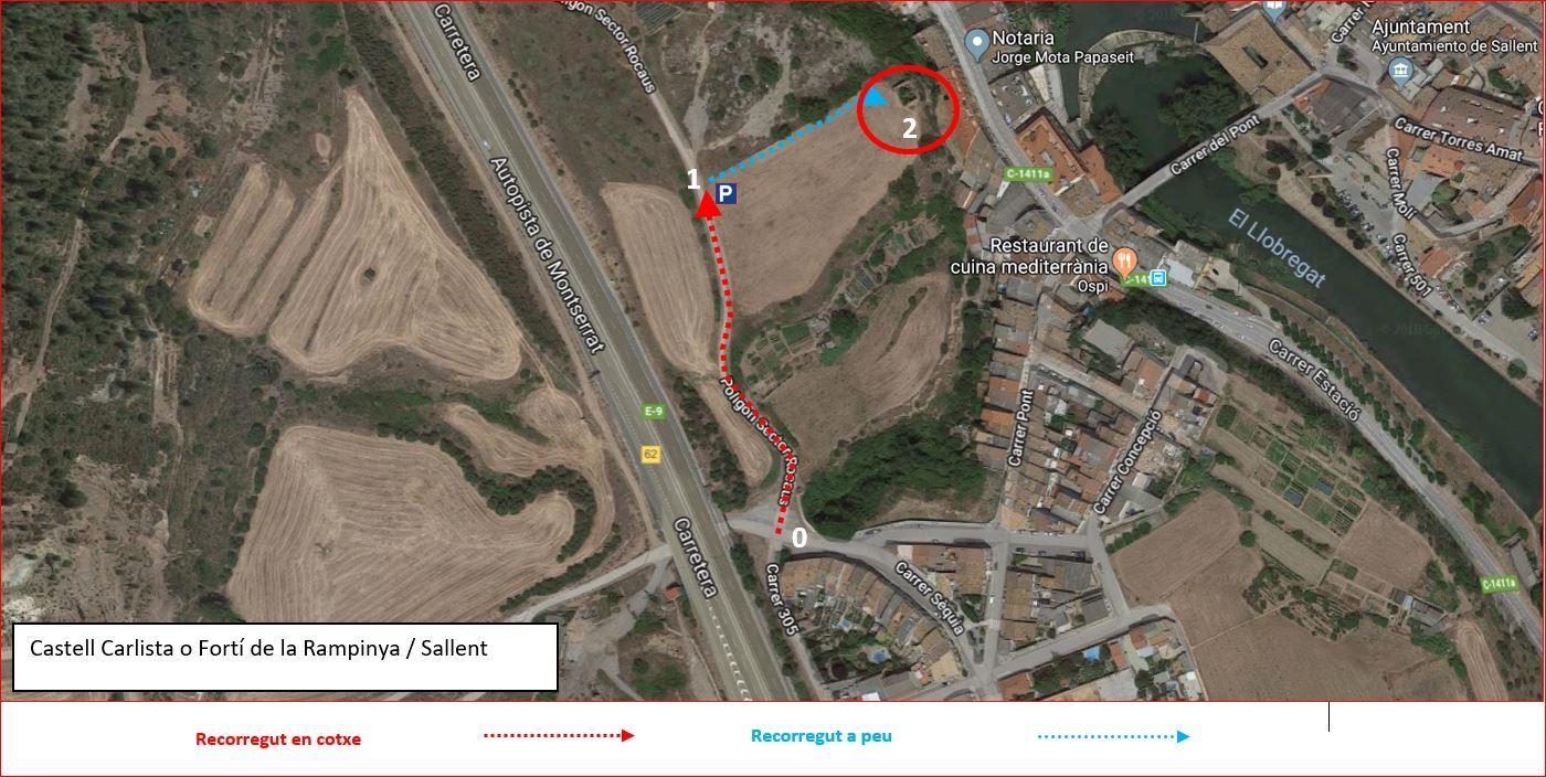 Castell Carlista-Sallent-Itinerari-MAPA-Captura de pantalla de Google MAPS, complementada amb anotacions manuals