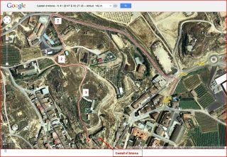 Castell d'Aitona - Itinerari - Captura de pantalla de Google Maps, complementada amb anotacions manuals.