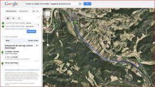 Caseres - Camí cap el Castell d'Almudèfer. Itinerari - Captura de pantalla de Google Maps, complementada amb anotacions manuals.