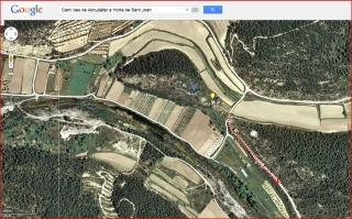 Itinerari des del castell d'Almudèfer a Horta de Sant Joan-Captura de pantalla de Google Maps complementada amb anotacions manuals.