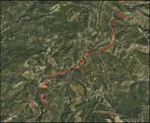 Castell d'Arbul - Itinerari - Vista general. Captura de pantalla de Google Maps, complementada amb anotacions manuals.