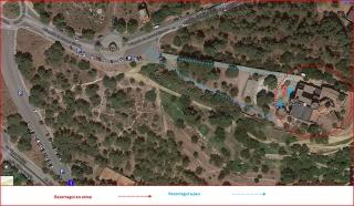 Castell de Castelldefels-Captura de pantalla de Google Maps, complementada amb anotacions manuals