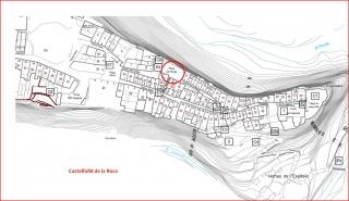 Plànol, extret de la pàgina del Pla especial de protecció del nucli antic de Castellfollit de la Roca - Conjunts (Generalitat de Catalunya – Departament de Política Territorial i Obre Públiques)