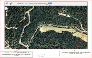 Camí al castell de Castellvell del Far-Itinerari-Captura de pantalla de Google maps