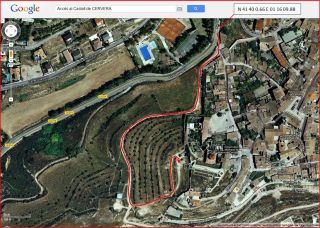 Castell de Cervera-Itinerari-Captura de pantalla de Google Maps, complementada amb anotacions manuals.