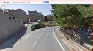 Castell de Cervera-Itinerari-Captura de pantalla de Google Maps, complementada amb anotacions manuals. Per aquesta sortida de l'esquerra, abandonem l'avinguda de Vallfogona i continuem pel camí de Sant Genís (Noms de carrer que apareixen al mapa de Google).