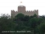 El Castell de Farners, vits des del lloc on hem aparcat el cotxe, al davant del Santuari de la Mare de Déu de Farners.