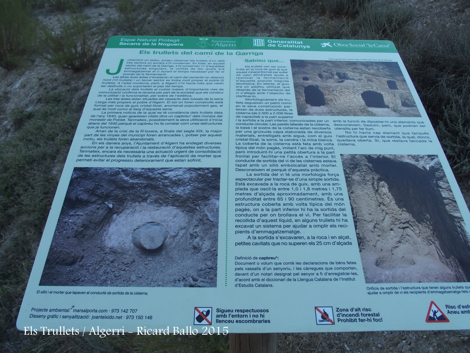 Castell de la Figuera - Trullets - Plafó informatiu