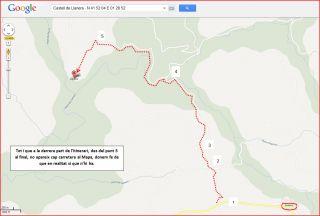 Castell de Llanera-Itinerari-Captura de pantalla de Google Maps, complementada amb anotacions manuals.