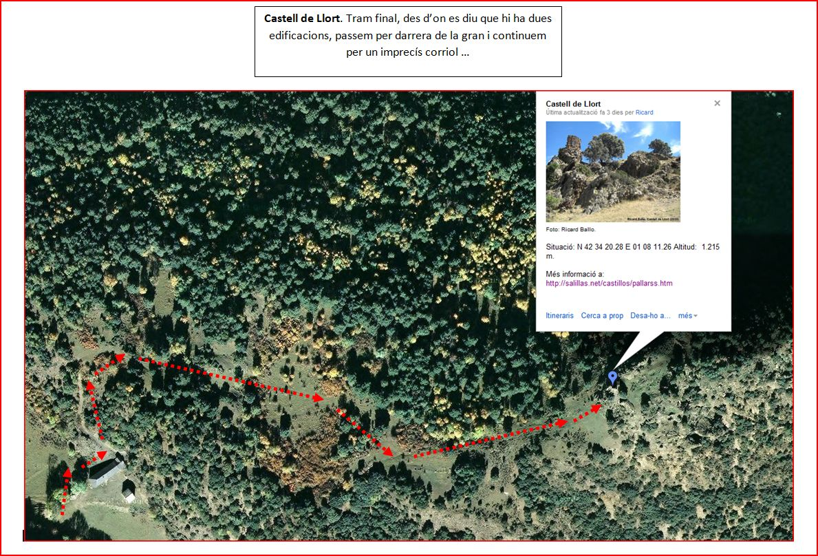 Castell de Llort-Espot-Captura google-maps amb anotacions manuals-120705