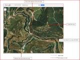 Castell de Lluçà - Itinerari - Captura de pantalla de Google Maps complementada amb anotacions manuals.
