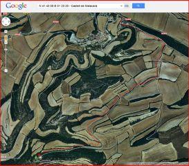 Camí al castell de Malacara - Visió global del recorregut - Captura de pantalla de Google Maps, complementada amb anotacions manuals.