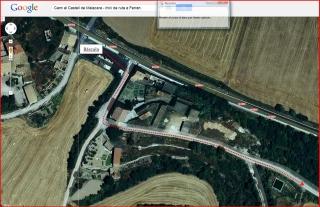 Camí al castell de Malacara - Captura de pantalla de Google Maps, complementada amb anotacions manuals - Ampliació primera part del recorregut.