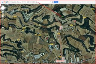 Castell de Mont-ros - Itinerari - Captura de pantalla de Google Maps, complementada amb anotacions manuals.