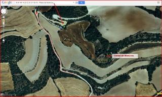 Pletes de Mont-ros - Itinerari - Captura de pantalla de Google Maps, complementada amb anotacions manuals.