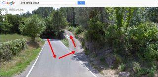Camí al castell de Montmarí - Captura de pantalla de Google Maps, complementada amb anotacions manuals.
