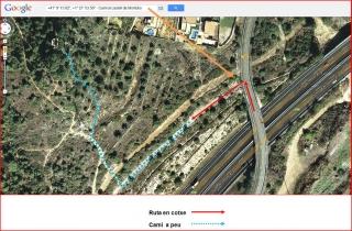Castell de Montoliu - Captura de pantalla de Google Maps, complementada amb anotacions manuals.