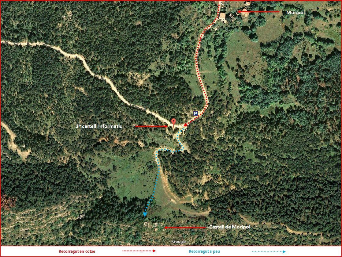Castell de Moripol-DETALL Itinerari FINAL-Captura de pantalla de GOOGLE MAPS, complementada amb anotacions manuals