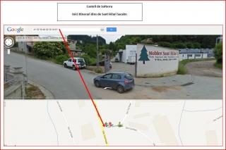 Castell de Solterra - Inici itinerari dins de Sant Hilari Sacalm - captura de pantalla de Google Maps, complementada amb anotacions manuals.