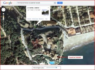 Castell de Tamarit - Itinerari - Captura de pantalla de Google Maps, complementada amb anotacions manuals.