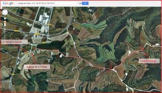 Castell de Vilalta – Sant Guim de Freixenet - Itinerari - Captura de pantalla de Google Maps, complementada amb anotacions manuals.