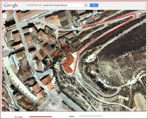 Castell d'Escarp - Itinerari - Captura de pantalla de Google Maps, complementada amb anotacions manuals.