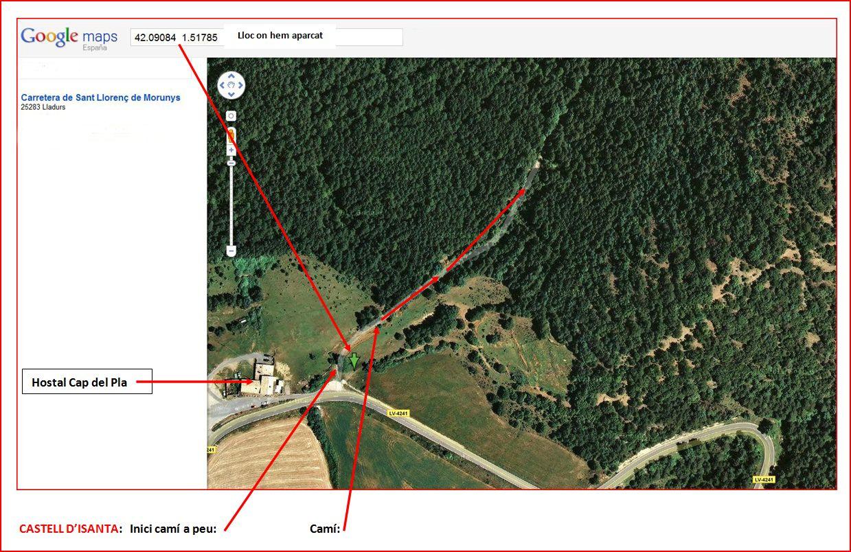 mapa-google-castell-disanta-lloc-on-hem-aparcat-e-inici-del-cami