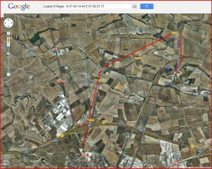 Castell d'Ofegat - Captura de pantalla de Google Maps, complementada amb anotacions manuals.