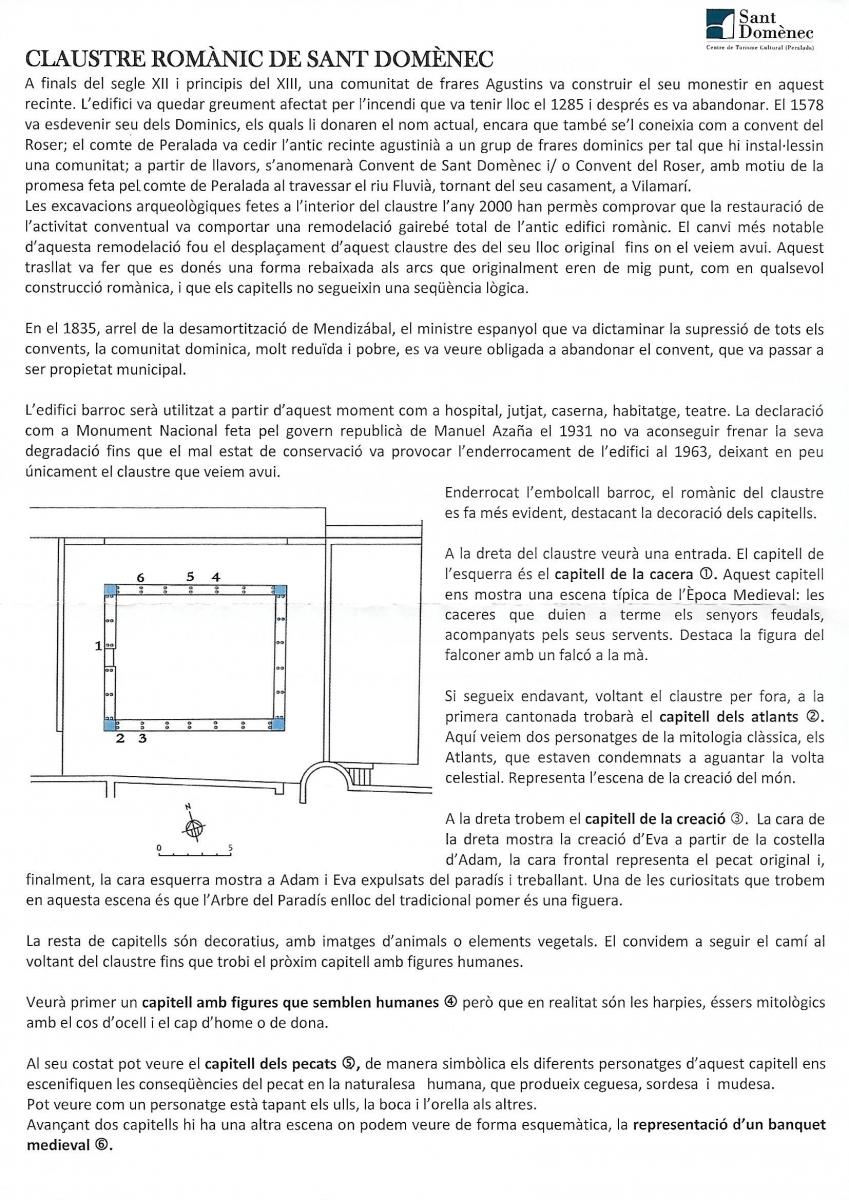 Claustre romànic de Sant Domènec-Peralada-Informació facilitada per l\'Oficina de turisme de Peralada