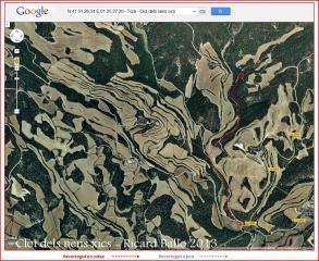 Clot dels nens - Itinerari - captura de pantalla de Google Maps, complementada amb anotacions manuals.