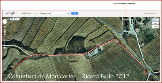 Montcortès - Columbari romà - Itinerari: captura de pantalla de Google Maps, complementada amb anotacions manuals.