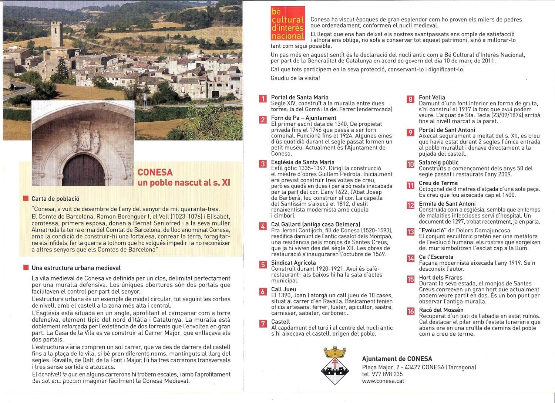 Conesa- Fulletó informatiu emès per l'Ajuntament de Conesa. Escanejat en data Febrer 2016