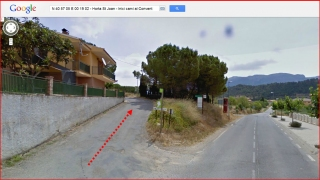 Convent de Sant Salvador - Horta de Sant Joan - Inici camí - Captura de pantalla de Google Maps, complementada amb anotacions manuals.