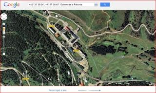 Dolmen de la Paborda - Alp - Itinerari - captura de pantalla de Google Maps, amb anotacions manuals.