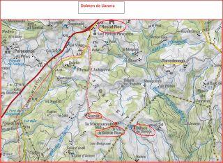 Dolmen de Llanera - Camí d'accés - Itinerari - Captura de pantalla d'un mapa del ICC, complementada amb anotacions manuals.