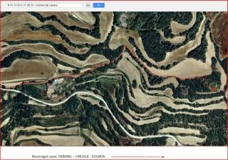 Dolmen de Llanera - Camí d'accés - Itinerari - Captura de pantalla de Google Maps, complementada amb anotacions manuals.