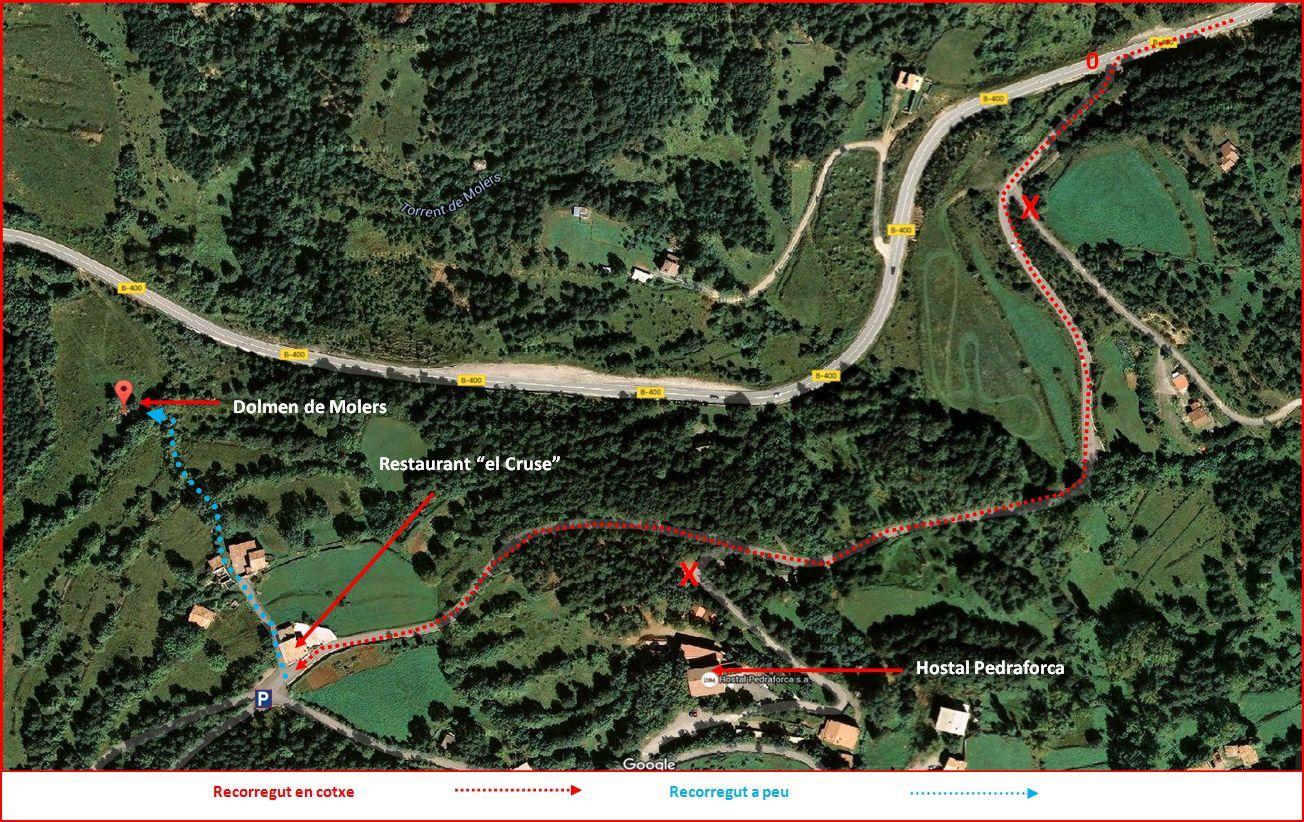 Dolmen de Molers - Mapa de l'ITINERARI - Captura de pantalla de Google Maps, complementada amb anotacions manuals