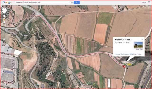 El Pont de les Arnaules – Manresa - Itinerari - 2 - Captura de pantalla de Google Maps, complementada amb anotacions manuals.