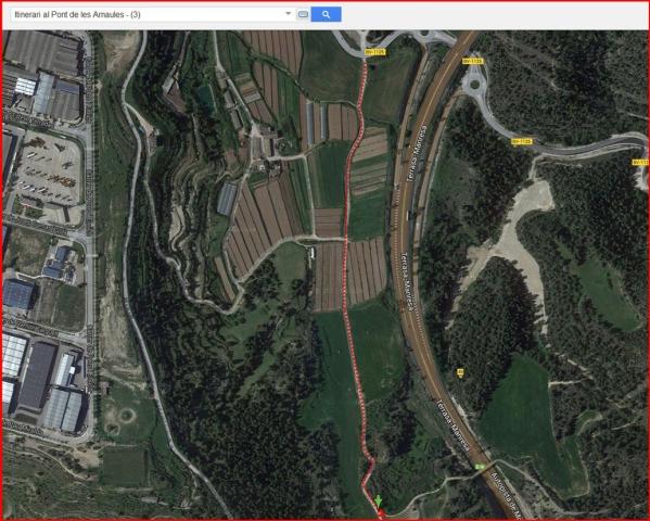 El Pont de les Arnaules – Manresa - Itinerari - 3 - Captura de pantalla de Google Maps, complementada amb anotacions manuals.