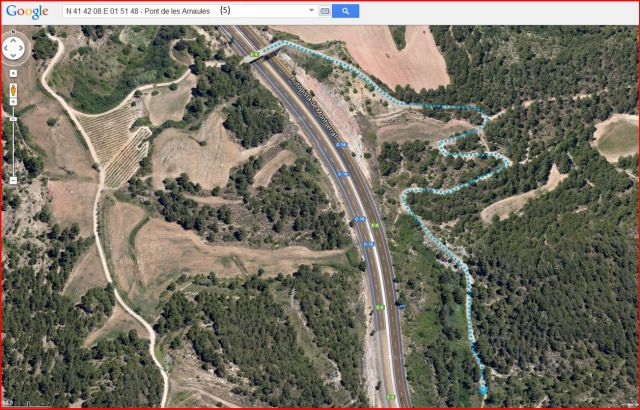 El Pont de les Arnaules – Manresa - Itinerari - 5 - Captura de pantalla de Google Maps, complementada amb anotacions manuals.