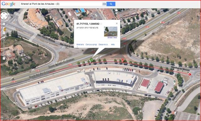 El Pont de les Arnaules – Manresa - Itinerari - 0 - Captura de pantalla de Google Maps, complementada amb anotacions manuals.