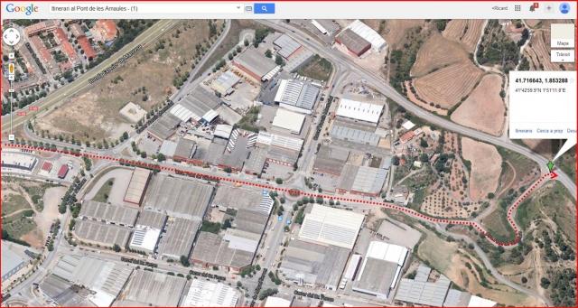 El Pont de les Arnaules – Manresa - Itinerari - 1 - Captura de pantalla de Google Maps, complementada amb anotacions manuals.