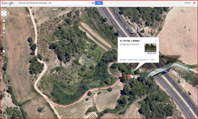 El Pont de les Arnaules – Manresa - Itinerari - 4 - Captura de pantalla de Google Maps, complementada amb anotacions manuals.